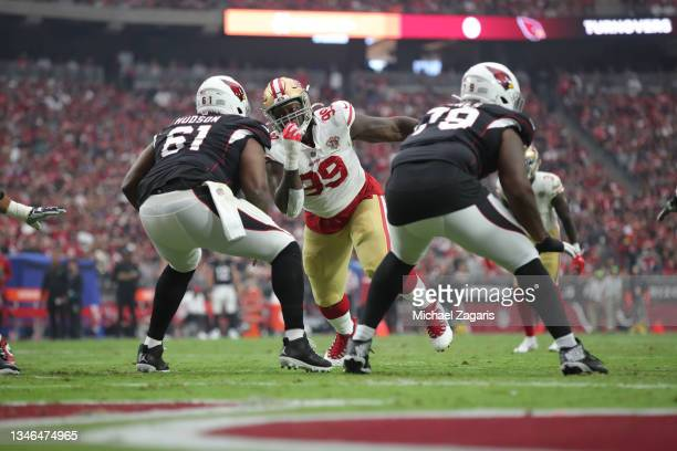 Javon Kinlaw of the San Francisco 49ers rushes the quarterback during the game against the Arizona Cardinals at State Farm Stadium on October 10,...