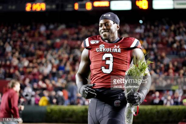 Javon Kinlaw of the South Carolina Gamecocks before their game against the Appalachian State Mountaineers at WilliamsBrice Stadium on November 09...