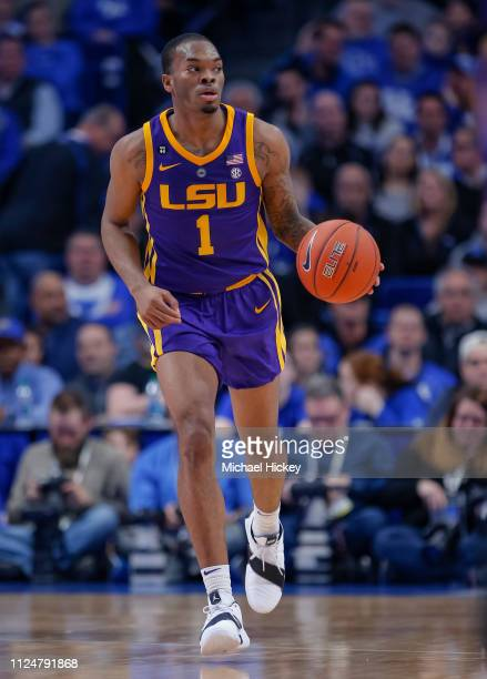 Ja'vonte Smart of the LSU Tigers brings the ball up court during the game against the Kentucky Wildcats at Rupp Arena on February 12 2019 in...