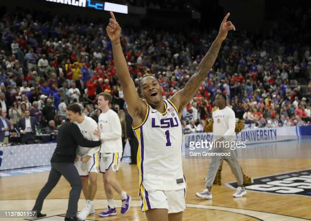 Javonte Smart of the LSU Tigers celebrates their 6967 win over the Maryland Terrapins in the second round of the 2019 NCAA Men's Basketball...