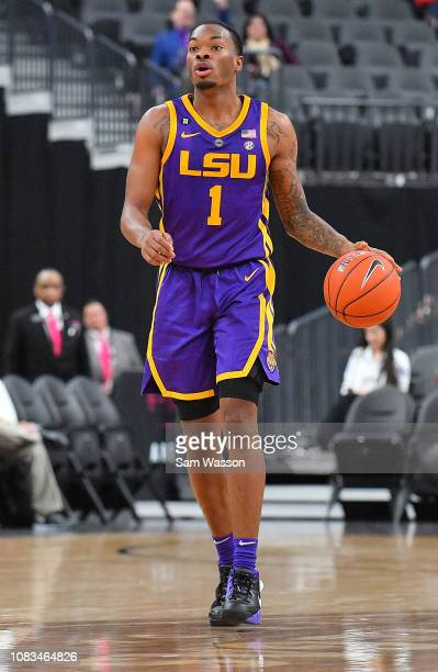 Ja'vonte Smart of the LSU Tigers dribbles against the Saint Mary's Gaels during their game at TMobile Arena on December 15 2018 in Las Vegas Nevada...