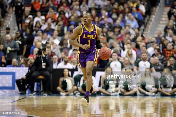 Javonte Smart of the LSU Tigers dribbles down court against the Michigan State Spartans during the second half in the East Regional game of the 2019...