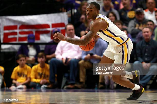 Ja'vonte Smart of the LSU Tigers dribbles the ball down court during a game against the Texas AM Aggies at Pete Maravich Assembly Center on February...