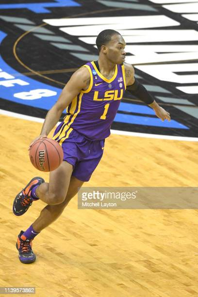 Javonte Smart of the LSU Tigers dribbles the ball during East Regional game of the 2019 NCAA Men's Basketball Tournament against the Michigan State...