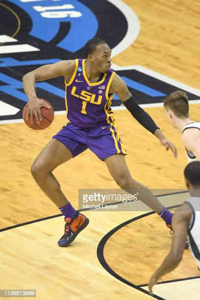 Javonte Smart of the LSU Tigers dribbles the ball during the East Regional game of the 2019 NCAA Men's Basketball Tournament against the Michigan...