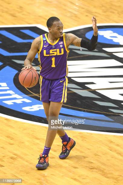 Javonte Smart of the LSU Tigers dribbles up court during the East Regional game of the 2019 NCAA Men's Basketball Tournament against the Michigan...