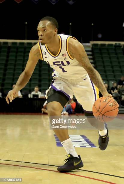 Ja'vonte Smart of the LSU Tigers drives during the game against the Oklahoma State Cowboys at HP Field House on November 25 2018 in Orlando Florida