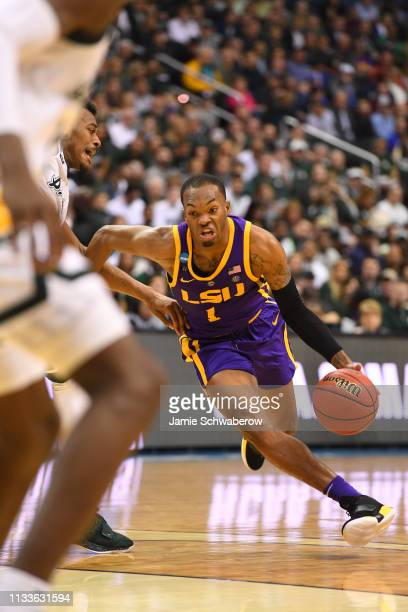 Javonte Smart of the LSU Tigers drives in on Xavier Tillman of the Michigan State Spartans in the third round of the 2019 NCAA Photos via Getty...