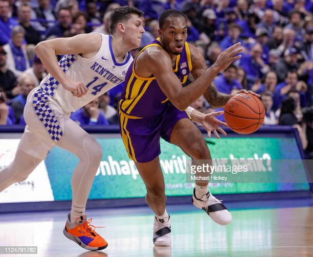 Ja'vonte Smart of the LSU Tigers drives to the basket during the game against the Kentucky Wildcats at Rupp Arena on February 12 2019 in Lexington...