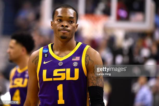 Javonte Smart of the LSU Tigers looks on in the first half against the Michigan State Spartans during the 2019 NCAA Men's Basketball Tournament East...