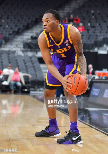 Ja'vonte Smart of the LSU Tigers looks to drive against the Saint Mary's Gaels during their game at TMobile Arena on December 15 2018 in Las Vegas...