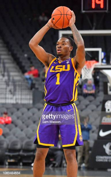 Ja'vonte Smart of the LSU Tigers looks to pass against the Saint Mary's Gaels during their game at TMobile Arena on December 15 2018 in Las Vegas...