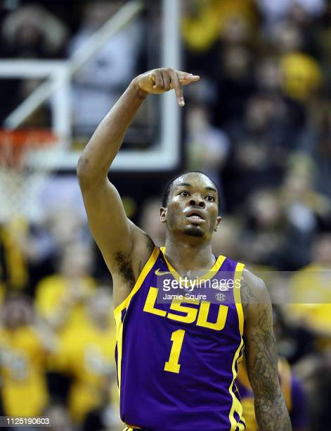 Ja'vonte Smart of the LSU Tigers reacts after making a threepointer during the game against the Missouri Tigers at Mizzou Arena on January 26 2019 in...