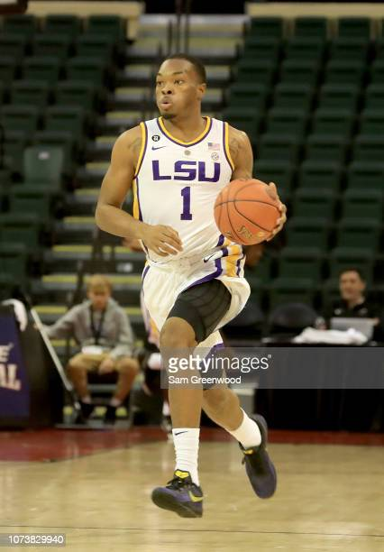 Ja'vonte Smart of the LSU Tigers sets up the offense during the game against Oklahoma State Cowboys at HP Field House on November 25 2018 in Orlando...