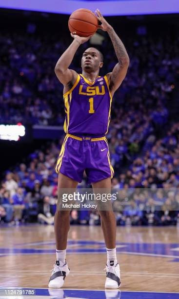 Ja'vonte Smart of the LSU Tigers shoots a free throw during the game against the Kentucky Wildcats at Rupp Arena on February 12 2019 in Lexington...