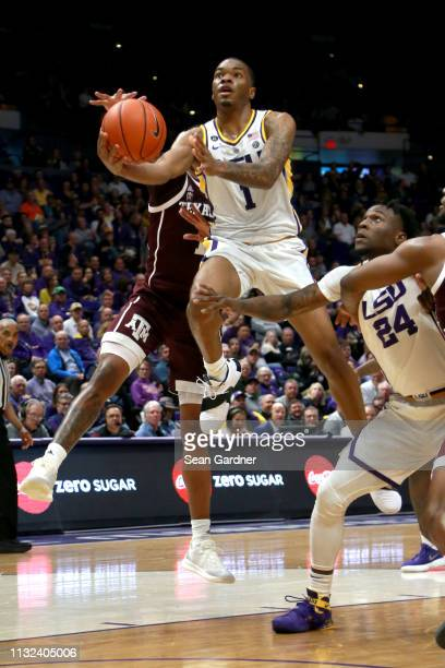 Ja'vonte Smart of the LSU Tigers shoots a layup during the first half of a game against the Texas AM Aggies at Pete Maravich Assembly Center on...