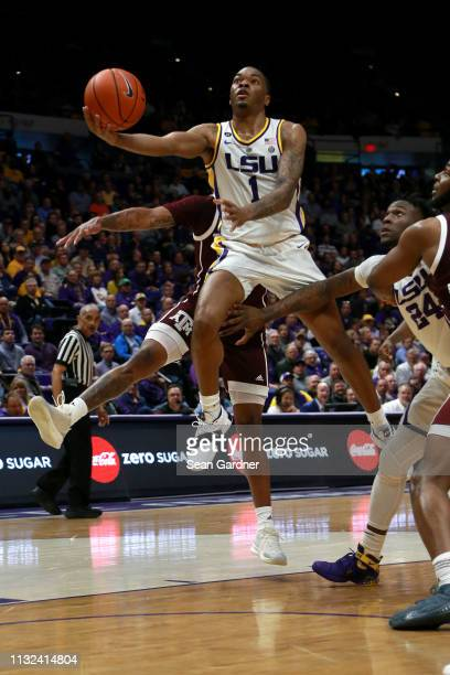 Ja'vonte Smart of the LSU Tigers shoots a layup during the first half against the Texas AM Aggies at Pete Maravich Assembly Center on February 26...