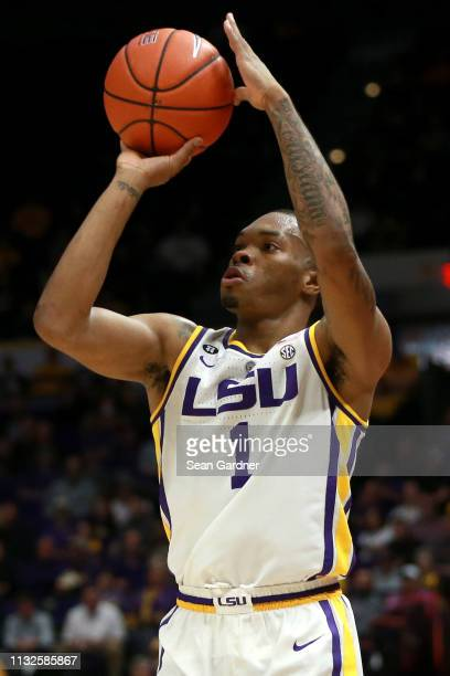 Ja'vonte Smart of the LSU Tigers shoots the ball during a game against the Texas AM Aggies at Pete Maravich Assembly Center on February 26 2019 in...