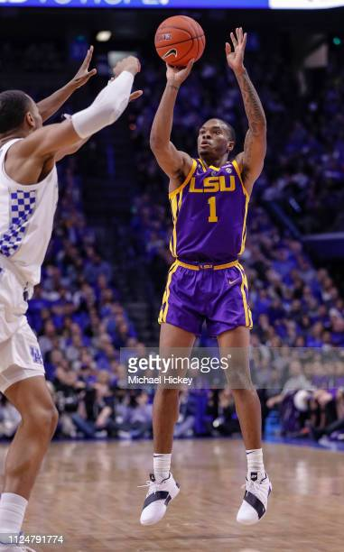 Ja'vonte Smart of the LSU Tigers shoots the ball during the game against the Kentucky Wildcats at Rupp Arena on February 12 2019 in Lexington Kentucky