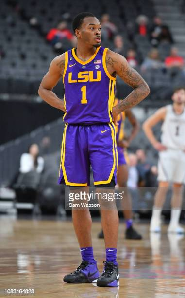 Ja'vonte Smart of the LSU Tigers stands on the court during his team's game against the Saint Mary's Gaels at TMobile Arena on December 15 2018 in...