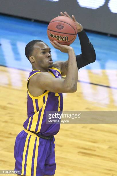 Javonte Smart of the LSU Tigers takes a jump shot during the East Regional game of the 2019 NCAA Men's Basketball Tournament against the Michigan...