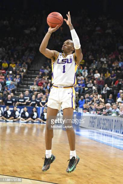 Javonte Smart of the LSU Tigers takes a jump shot during the First Round of the NCAA Basketball Tournament against the Yale Bulldogs at the VyStar...