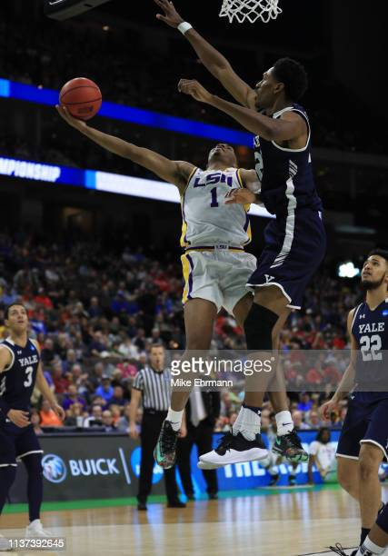 Javonte Smart of the LSU Tigers takes a shot against Jordan Bruner of the Yale Bulldogs in the second half during the first round of the 2019 NCAA...