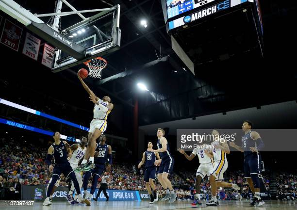 Javonte Smart of the LSU Tigers takes a shot against the Yale Bulldogs in the second half during the first round of the 2019 NCAA Men's Basketball...