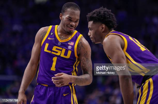 Ja'vonte Smart talks with Marlon Taylor of the LSU Tigers during the game against the Kentucky Wildcats at Rupp Arena on February 12 2019 in...