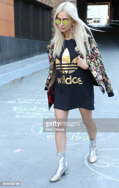 Javvy Pirooz wearing an Adidas top and Chiara Ferragni boots attends the Spring/Summer 2018 womenswear collection shows during New York Fashion Week...