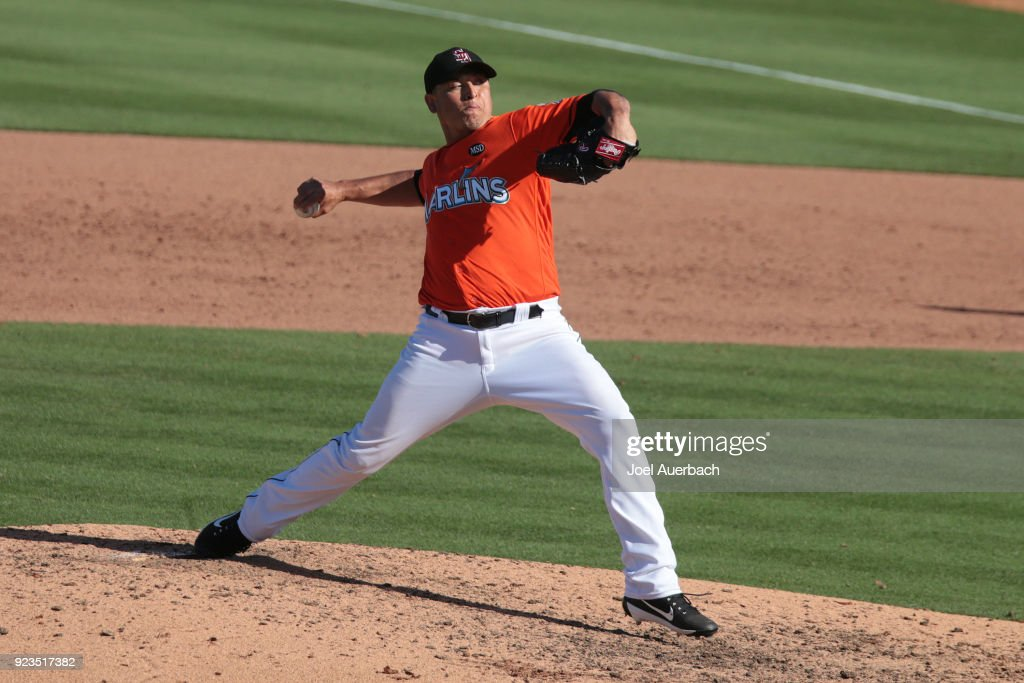 Javy Guerra #40 of the Miami Marlins throws the ball against the St Louis Cardinals during the ninth inning of a spring training game at Roger Dean Chevrolet Stadium on February 23, 2018 in Jupiter, Florida. The Marlins defeated the Cardinals 6-4.