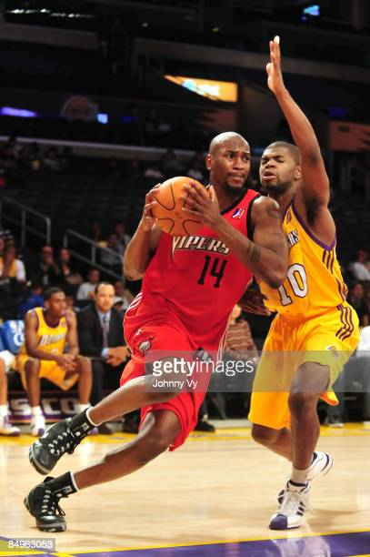Jawad Williams of the Rio Grande Valley Vipers drives past Darren Cooper of the Los Angeles DFenders at Staples Center on February 20 2009 in Los...