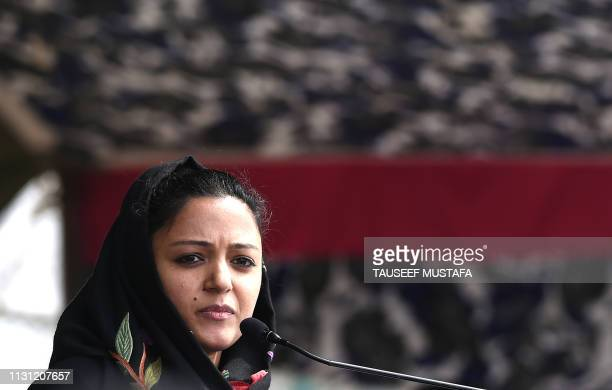 Jawaharlal National University student leader Shehla Rashid Shora addresses a gathering as Dr. Shah Faesal launches a new political party 'Jammu and...