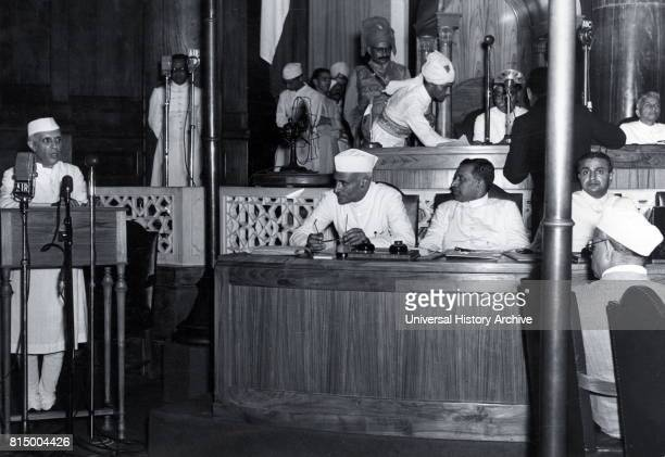 Jawaharlal Nehru and Lord Mountbatten at the declaration of Indian Independence 15 August 1947 Nehru was a leader of Indian National Congress during...