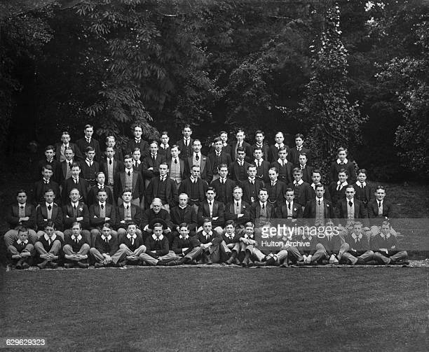 Jawaharlal Nehru later the the first Prime Minister of India among the schoolboys of The Headmaster's House at Harrow School London 1907 Nehru is in...