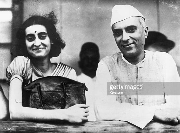 Jawaharlal Nehru President of the Indian Congress with his daughter future Indian prime minister Indira Nehru in Bombay