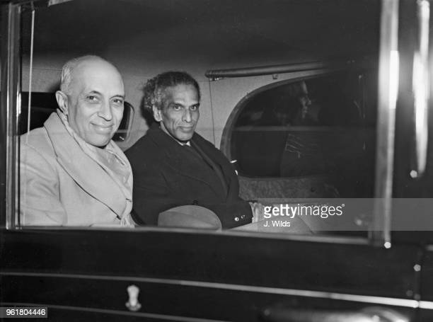 Jawaharlal Nehru Prime Minister of India arrives at Northolt Airport to attend the Commonwealth Prime Ministers' Conference and leaves by car with V...