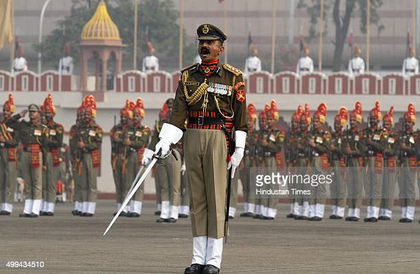 Jawan during the 49th BSF Raising Day Parade at BSF Chhawla Camp on December 1 2015 in New Delhi India Union Home Minister Rajnath Singh attended the...