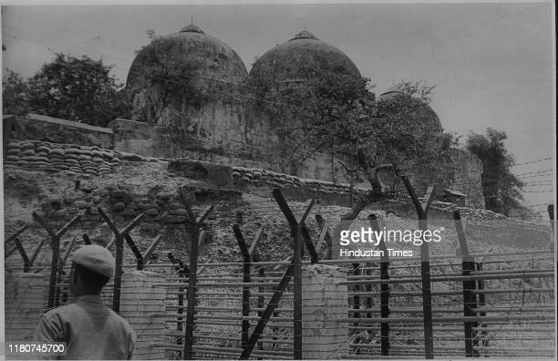 Jawan gaurding the disputed structure which is untouched and safe inside the fencing in Ayodhya
