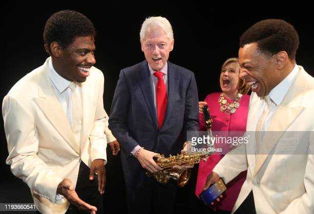 """Jawan M. Jackson, 42nd President of the United States Bill Clinton, Hillary Clinton, and Derrick Baskin are seen backstage at the musical """"Ain't Too..."""