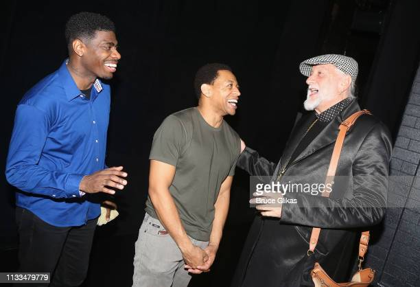 Jawan M Jackson Derrick Baskin and Mick Fleetwood chat backstage at the hit musical Ain't Too Proud on Broadway at The Imperial Theatre on March 28...