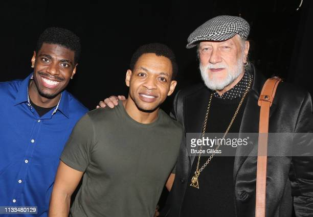 Jawan M Jackson Derrick Baskin and Mick Fleetwood pose backstage at the hit musical Ain't Too Proud on Broadway at The Imperial Theatre on March 28...