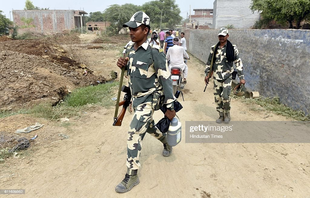 Jawans at Dauke near Attari Border area Punjab on September 30 2016 in Amritsar India