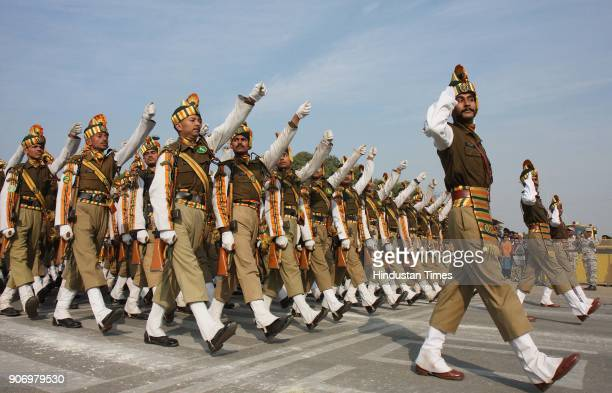 Jawans during Republic day Parade rehearsal at Rajpath in New Delhi