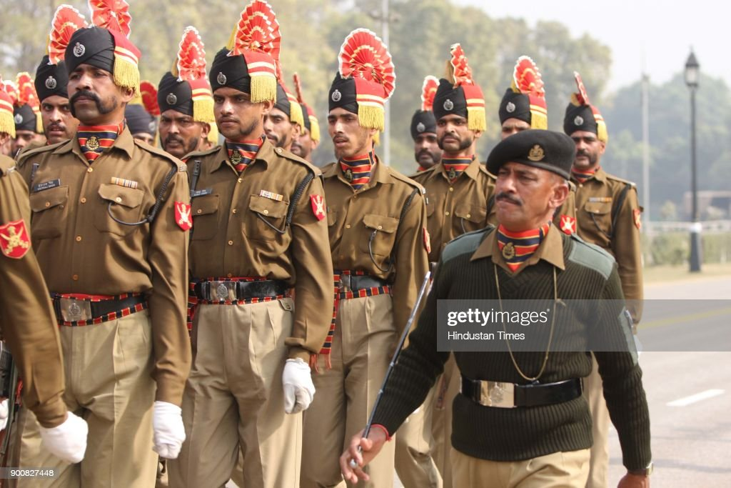 BSF Jawans during their rehearsal for the Republic Day celebration at the Rajpath on January 8, 2008 in New Delhi, India.
