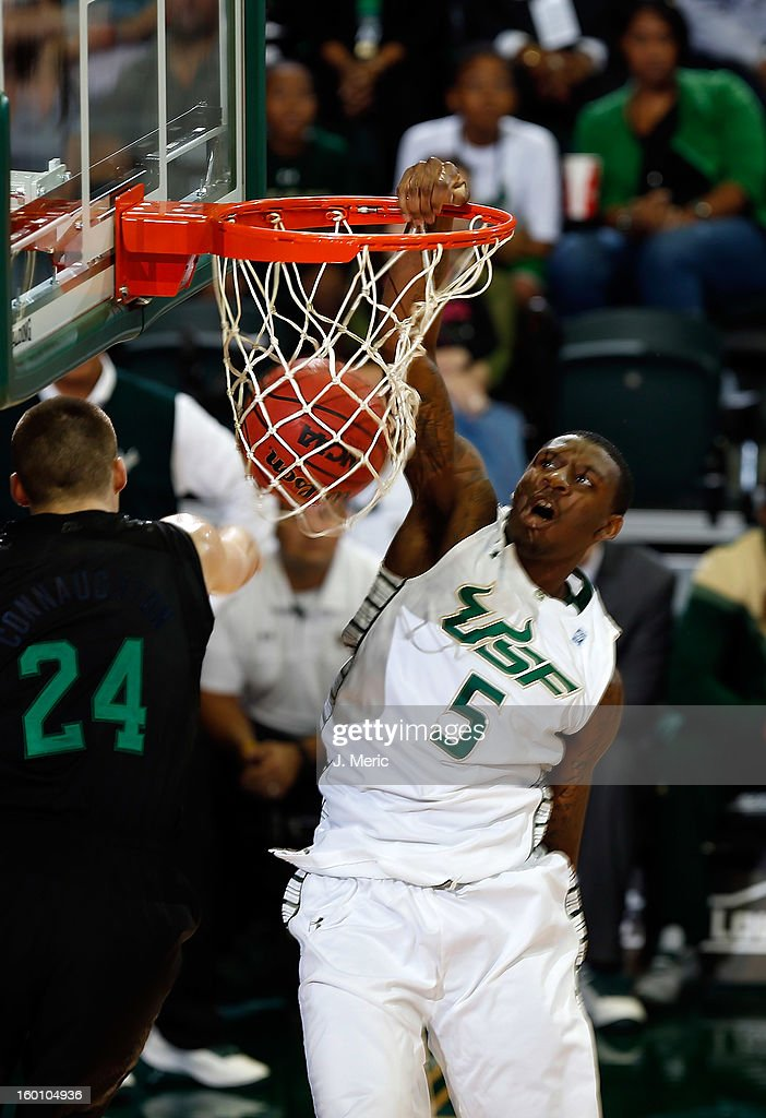 Jawanza Poland #5 of the South Florida Bulls dunks against the Notre Dame Fighting Irish during the game at the Sun Dome on January 26, 2013 in Tampa, Florida.