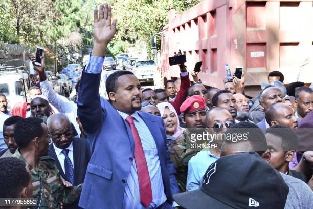 Jawar Mohammed a member of the Oromo ethnic group who has been a public critic of Abiy addresses supporters that had gathered outside his home in the...