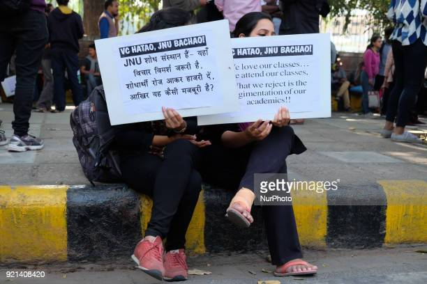 Jawarharlal Nehru University students gather to march towards Ministry of Human Resource Development in protest to demand removal of their university...