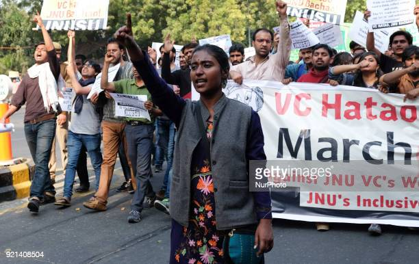 Jawarharlal Nehru University students gather to march towards Ministry of Human Resource Development in protest against their university Vice...
