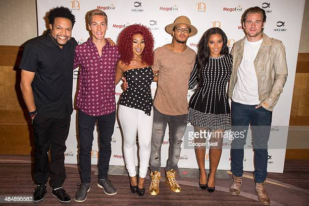 Jawn Murray Austin North Porscha Coleman Romeo Miller Angela Simmons and Luke Benward pose before the MegaFest Millennial Panel at The Omni Hotel...